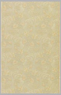 Flowers and clusters of small flowers on leafy branches surrounded by scallop design in shades of beige and coral.