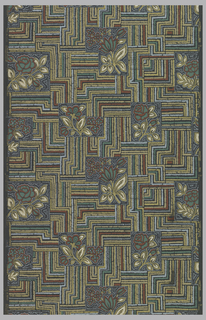 Floral designs enclosed in geometric shapes of red, green, blue, white, and metallic gold on a charcoal grey ground.
