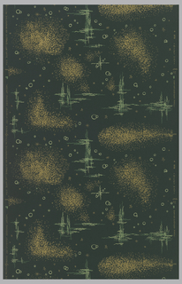 Stars, circles, grid patterns and sponge-like motifs. Printed in metallic gold, shades of green on deep green ground.