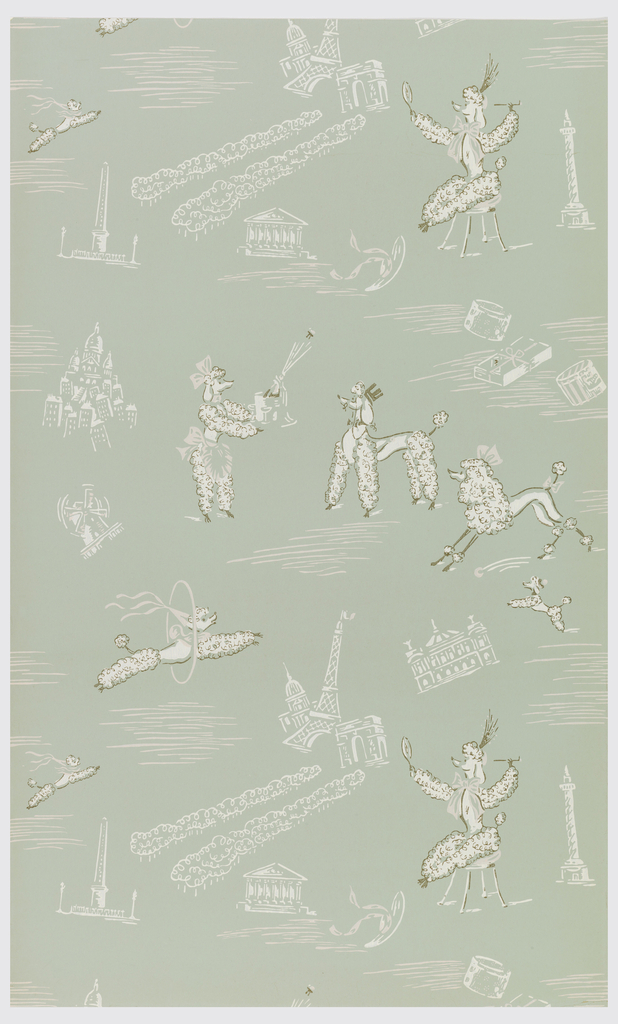 Personified poodles, in various scenes, alternating with Parisian monuments, printed in color on pale green ground.