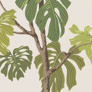 Dark green and lime green tropical leaves of a philodendron monstera printed on a white ground.