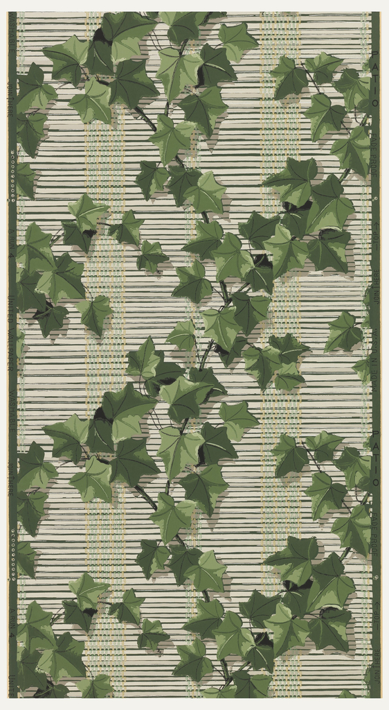 Tan window shades covered with green ivy on a dark green ground.