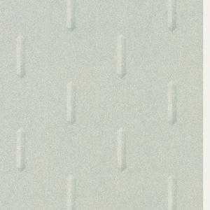 Elongated shapes with emerald-like design, repeating in a drop-match pattern. Printed in shades of green and gray.