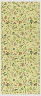 Abstract leaf and plant shapes, circular outlines in red, green, brown, white on yellow ground. Pre-trimmed selvedge: post 1953.