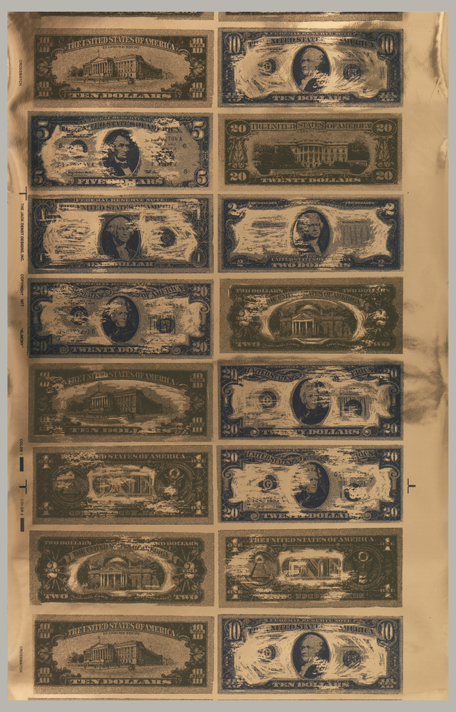 Design of U.S. currency in very large-scale.  The bills are stacked one on top of another in two columns. Some bills show the front and some show the reverse. The bills are printed in green and brown on a Mylar foil ground.