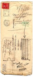 Sketch On Envelope For Pocket Brush (USA)