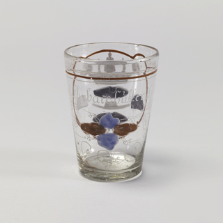 Clear glass beaker. with painted decoration.  Family shield with a series of hats including royal crown.