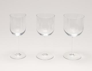White wine glass; Manufacturer sticker on glass