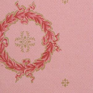 On a pink ground, dark pink ribbon wreaths containing vine motifs in greenish gold.