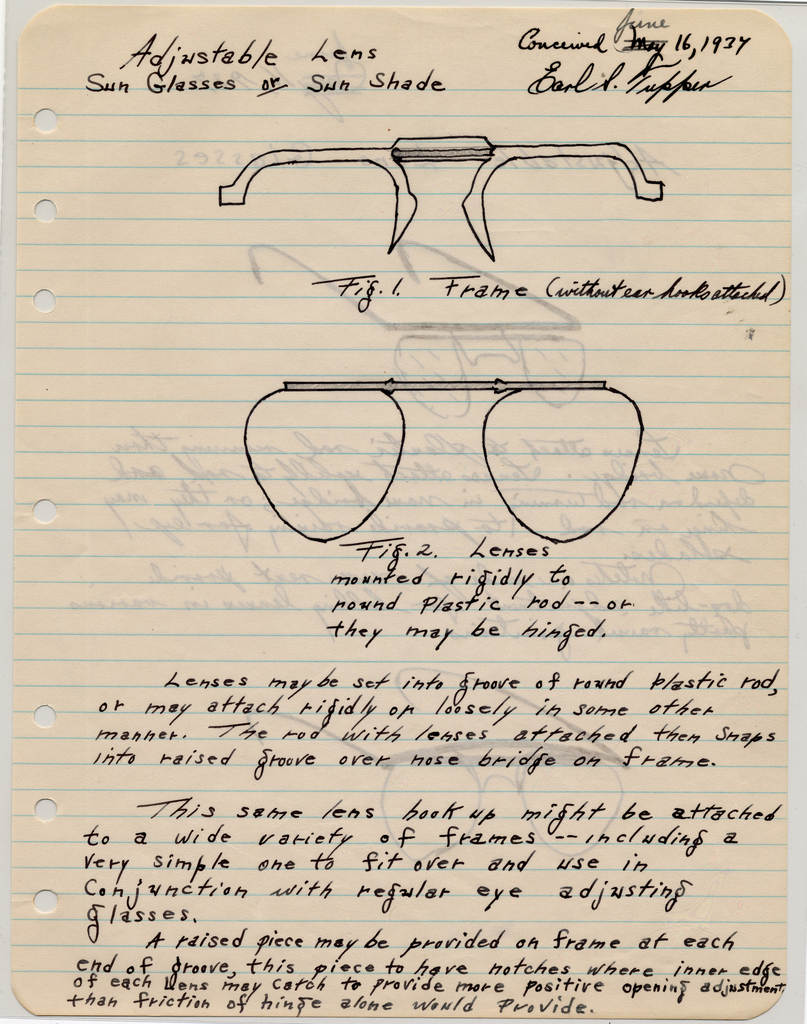 "Sketch For ""Adjustable Lens Sun Glasses Or Sun Shade"" (USA), June 16, 1937"