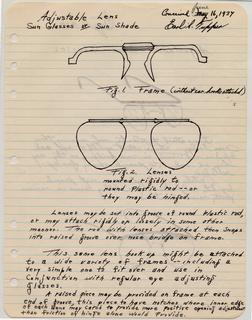 "Sketch For ""Adjustable Lens Sun Glasses Or Sun Shade"" (USA)"