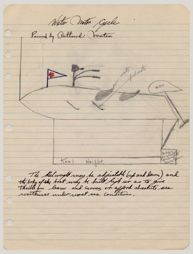 "Sketch For ""Water Motor Cycle"" (USA), Undated"