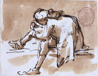 Drawing, Hunchback sitting on a step