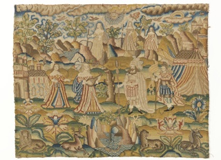 Embroidered picture. Three depths: in foreground, a landscape with flowers, a pond and animals (from left to right: lion, stag, leopard and unicorn); in middle ground, two women, one holding a lute, a bearded man in armor and feathered headdress, a youth in armor with banner, and a military camp; in background, a mountainous landscape with clouds, birds, a sun, a rainbow, and three women with staffs. Counted stitches using silk, stem, cross, padded satin, and tightly pulled deflected elements. Couched silk-wrapped silk and silk-wrapped wire.