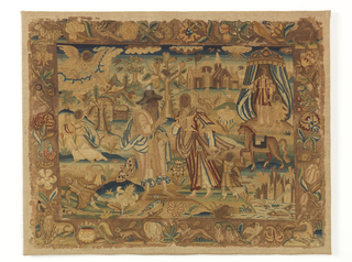 Embroidered picture. Two depths: in foreground, a woman with child speak to a bearded man; in background, an angel looks over a landscape with trees, a castle, and a tent from which emerge a woman and child. Border of animals and flowers include: lion, hare, dog, tiger, parrot, squirrel, stag, and bee. Framed and glazed.