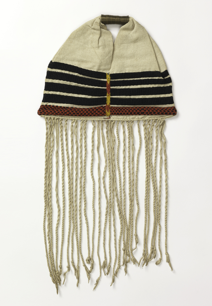 Bag with long fringe and brass handle. Horizontal stripes at intervals in black and red, joined by yellow, red, and black stitching in the middle (front and back).