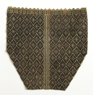 Portion of a sleeve woven in an allover diamond pattern in brown with varying centers of red, white, purple and metallic thread. Center stripe of double chevron design. Embroidered white trim on outer edge.