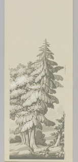 Five sets of the same five numbered panels of scenic wallpaper. Numbers printed center, bottom. Printed in grisaille with four shades of gray and white on gray ground. No. 1(a/e): two tree clumps with low branches grouped at edges; No. 2 (f,j,n,r,v): fir tree; No. 3 (g,k,o,s,w): double-trunked tree, part of building; No. 4 (h,l,p,t,x): cedar tree behind double-trunked tree; No. 5 (i,n,q,u,y): castellated building behind trees.