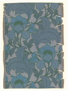 On grayed-turquoise ground, reserved over-all fill pattern of scales and dots. Over this, pattern of crazing in blue. Dominant pattern: outlined in green, of large sinuous flowers and foliage in shades of blue.