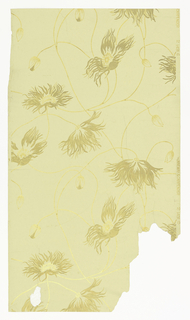 Cream background with gold flower pattern.