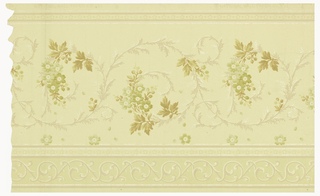 Yellow background with green flower and tan leaf pattern design.