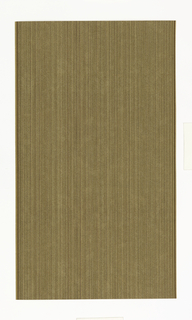 Very fine lined vertical stripes, printed in red, green, brown and mustard, overprinted with fine curly lines of white and tan, on off-white ground.