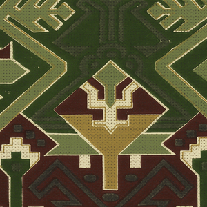Geometric pattern with an American Indian stylization. Design is overprinted with dots and dashes of black. Top 2/3 of background is deep green while bottom 1/3 is deep red. Printed in green, deep red, yellow ocher, and black on an off-white ground.
