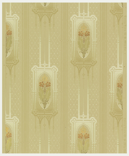 Floral striped with stylized flowers in shades of metallic gold, copper and green within frames of beige and cream within striped configuration with fill of pearl-like dots in diamond diaper.