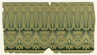 On frieze, gray-green patterned ground, floral swag of metallic gold and bronze interspersed with water lilies on water-like ground; upper half consists of sinuous stems and flowers in bronze and gold.