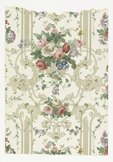 Bouquets of flowers and vines set against rococo revival panels. Printed in greens, pinks, lavenders, browns, beiges, blues and yellow on a beige background.