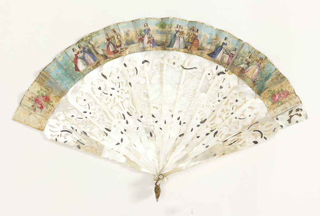 Fan with carved and pierced mother-of-pearl sticks, and gilded leaf  with lithograph promenade scene. On sticks: central cartouche of a lady and a gentleman playing the fife.