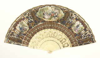 Paper leaf with elaborate chromolithograph decoration, with carved, pierced and gilded bone sticks. Leaf decorated with three figure groups in landscapes framed by gothic canopies and floral decoration; verso: gilt decorative medallion. Sticks pierced with floral decoration and gilded.