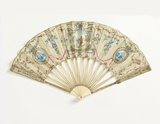 Pleated fan with painted silk leaf showing background of flowers and displays of musical instruments. Three painted parchment inserts show winter scenes of provincial life. Central one is in full color with the outer ones in blue and white. Carved ivory sticks with silver and gilding.