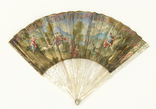 Pleated fan. Parchment leaf painted with watercolor. Obverse: pastoral landscape with figures. Reverse: floral border and centre sketch of a woman and Cupid. Carved and pierced showing figures and scrolls. Pin is set with a brilliant.