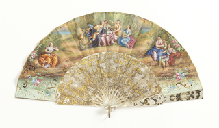Pleated fan. Leaf of paper with hand-colored lithograph. Obverse: three classical figure groups in landscape. Reverse: smaller scale single landscape with distant buildings and figures. Pierced, carved and gilded mother-of-pearl sticks wide enough to form uninterrupted mass of decoration at gorge when open. Rivet is set with a faceted stone. Gilt metal bail.