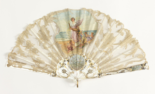 Pleated fan. Cotton Valencienne bobbin lace leaf with central insert of painted parchment showing a figure with cornucopia by the sea accompanied by three putti. Carved and pierced mother-of-pearl sticks showing florals; painted cartouche on gorge and guard showing thistles and roses. Mother-of-pearl washer at rivet and gilded metal bail.