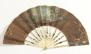 Pleated fan. Painted paper leaf. Obverse: girl in a landscape feeding doves. Reverse: scene with trees. Carved bone sticks with metal foil decoration of florals.