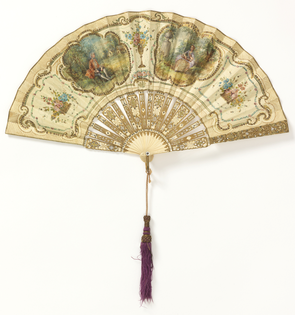 Pleated fan. Printed and hand-colored paper leaf embroidered with metal spangles. Obverse showing baskets of flowers and two cartouches enclosing, respectively, a with a man, and a woman. Carved, pierced and gilded bone sticks inlaid with steel piqués. Gilt metal bail and mother-of-pearl washer at rivet. Silk tassel with gold thread.