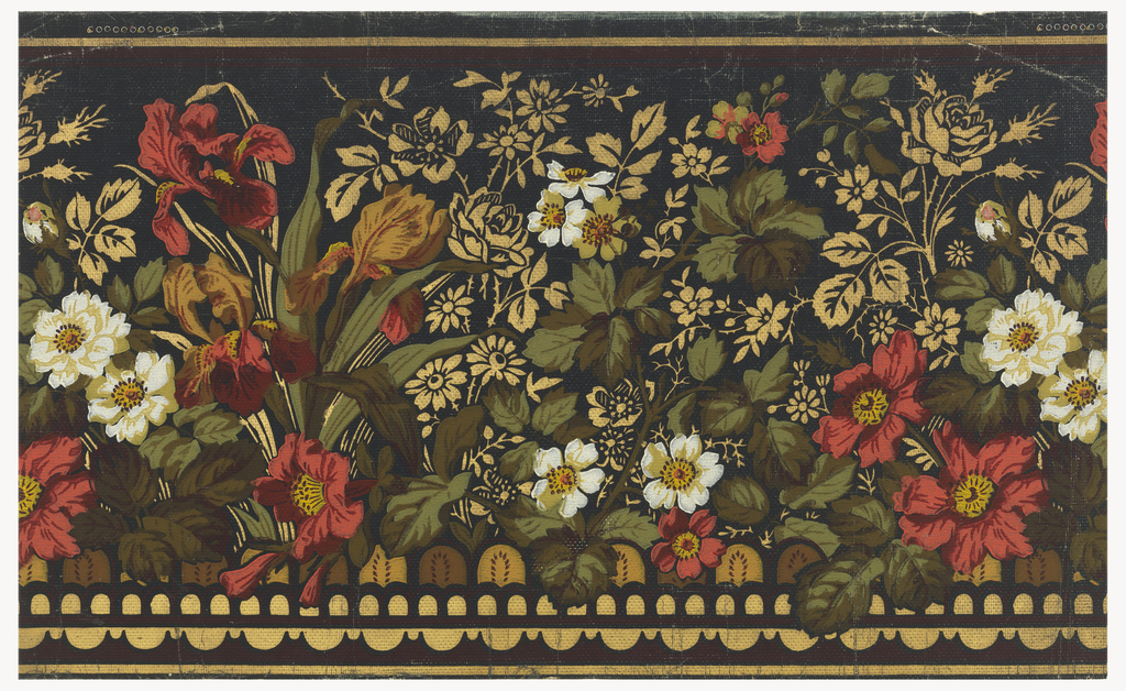 A border of fleur-de-lis and both single and double roses, with a band at bottom simulating a low scalloped wire fence. Printed in red, olive, green, white and gilt on black field. Aesthetic style border