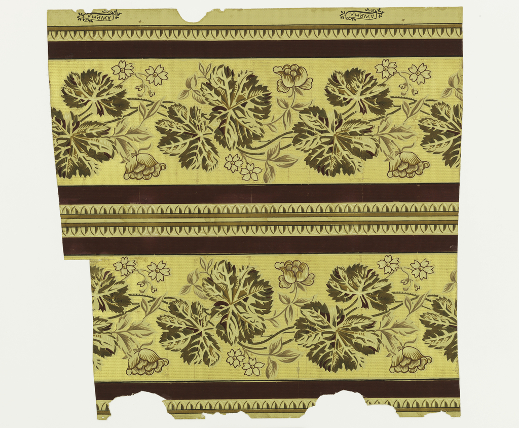 Two borders, printed side by side. Beige, maroon and brown vine and maroon outlined flowers on gauffre gold ground. Banded with maroon stripe and tongue stripe.