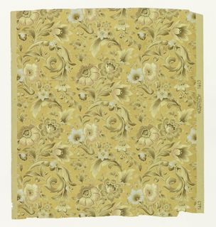 """Aesthetic style, floral pattern printed in shades of ochre with floral highlights of pink and blue. On embossed gold ground simulating a weave. Printed in selvedge: """"A.W.P.M.A."""" and """"1409""""."""