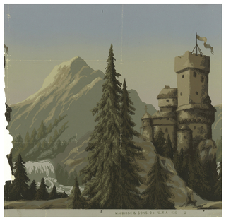Landscape, with large pine trees in foreground and large mountains in background. In the middle sits a castle to the right, and waterfall and stream to the left.