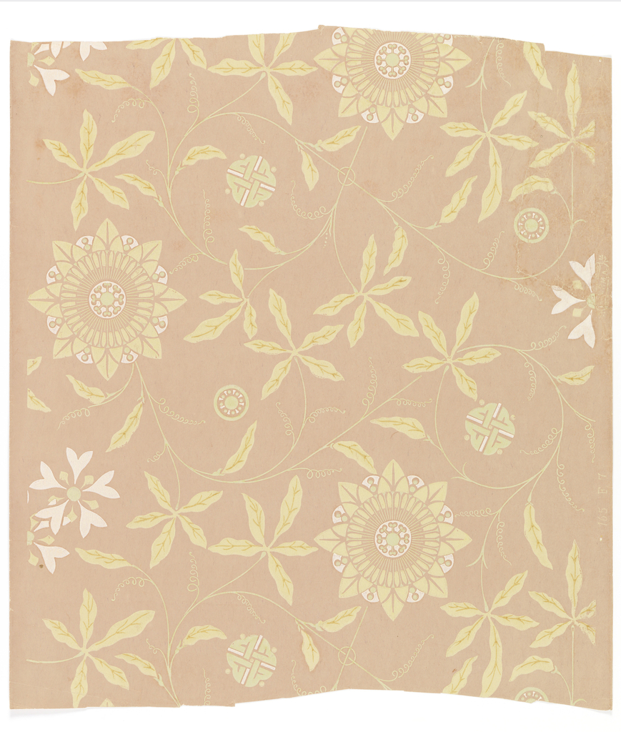 On pink or mauve ground, flat pattern in pastel green and white. Curving vine with stylized passion flowers, simplified flattened floral medallions, and Japanese decorative motifs - interlaced knot-like medallions.