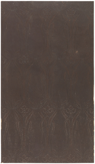 Art nouveau pattern with three-petaled floral motif at one end of elongated line structure. Paper backed.
