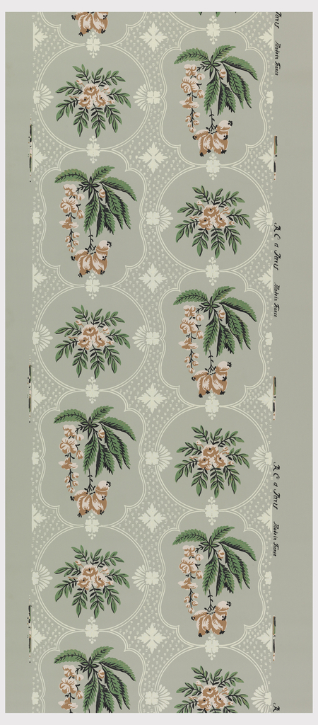 Double column format floral design, two alternating motifs: floral sprig within dotted circle and foliate sprig with pendant flowers within dotted ogival framework. Printed in green, pink, white and black on gray ground.