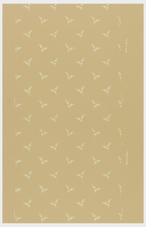 Small lily-of-the-valley, printed in rows, on light salmon-color ground.