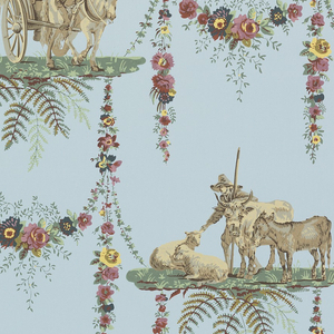 Alternating landscape plateaus, one containing horse-drawn buggy, the other containing a man with mule, cows and sheep. The plateaus are connected by floral swags. Printed in colors on blue ground.