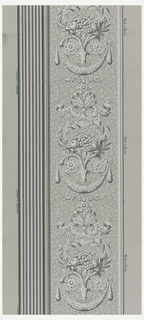 Arabesque design with pilaster. The arabesque contains a laurel wreath, fruit bouquet, foliate swag with pendents and rosettes and is printed on a gray crackled background. The pilaster is printed in grisaille with a green background.