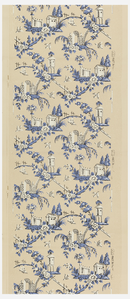 Small landscape vignettes, including water tower (?), arbor, small buildings, connected by narrow ridges of trees and fences. birds are flying about. Printed in blue and white on salmon-color ground.