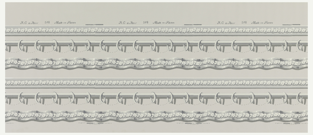 Top and bottom border for a drapery paper. The top border contains an architectural molding above the rod and rings, while the bottom border is a matching floral trim. Printed in shades of gray on gray ground.